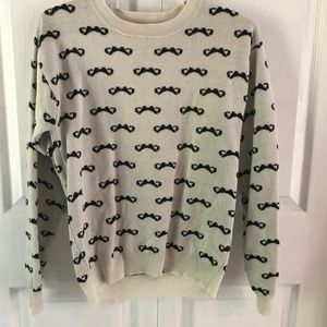 Rebellious One Ladies Mustache Sweater, Size L